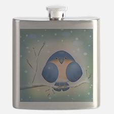 Blue Bird Winter Flask