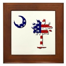 Red White and Blue Palmetto Framed Tile