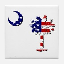 Red White and Blue Palmetto Tile Coaster