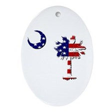 Red White and Blue Palmetto Oval Ornament