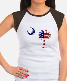 Red White and Blue Palmetto Women's Cap Sleeve T-S