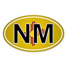 Nm - New Mexico Oval Car Sticker Flag Design