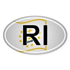 Ri - Rhode Island Oval Car Sticker Flag Design