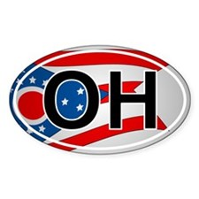 Oh - Ohio Oval Car Sticker Flag Design