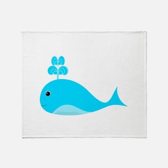 Happy Blue Whale Throw Blanket
