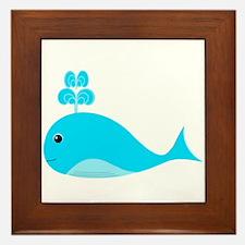 Happy Blue Whale Framed Tile