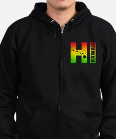 HI - Hawaii Rasta Surfer Colors Zip Hoodie