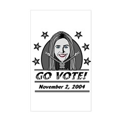 Vote 2004 B&W V-Rectangle Decal