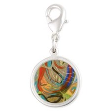 Abstract I by Julie Crisan Silver Round Charm