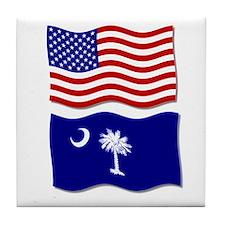 USA and SC Flags Tile Coaster