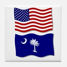 USA and SC Flags Tile Coaster