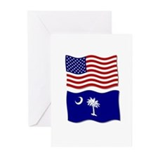 USA and SC Flags Greeting Cards (Pk of 10)