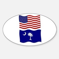 USA and SC Flags Oval Decal