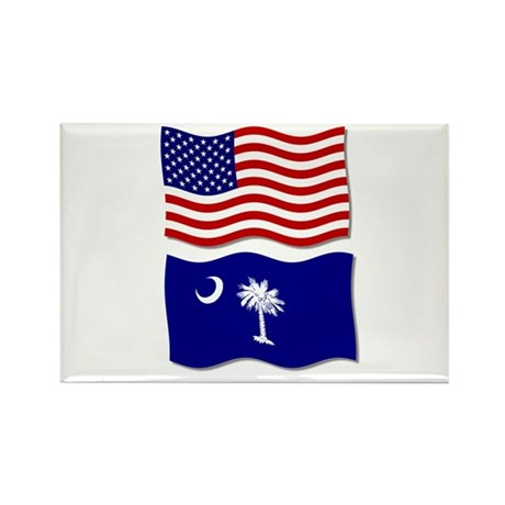 USA and SC Flags Rectangle Magnet