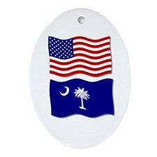 USA and SC Flags Oval Ornament