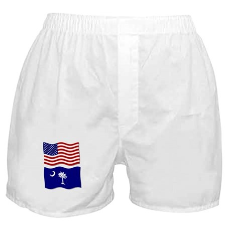 USA and SC Flags Boxer Shorts