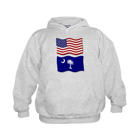 USA and SC Flags Kids Hoodie