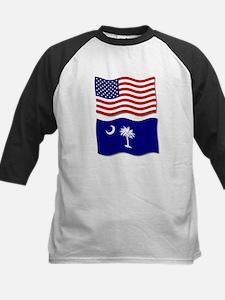 USA and SC Flags Kids Baseball Jersey