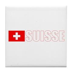 Suisse Flag (Dark) Tile Coaster