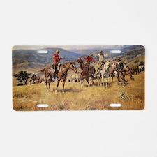Vintage Cowboys Aluminum License Plate