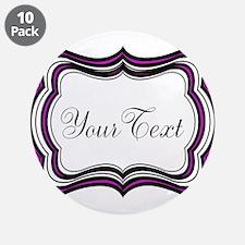 """Personalizable Purple Black White 3.5"""" Button (10"""