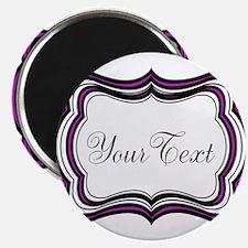 Personalizable Purple Black White Magnets