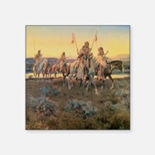 "Vintage Native American Ind Square Sticker 3"" x 3"""