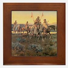 Vintage Native American Indians Framed Tile