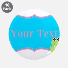 """Personalizable Frog on Pink Teal 3.5"""" Button (10 p"""
