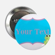 """Personalizable Frog on Pink Teal 2.25"""" Button (10"""