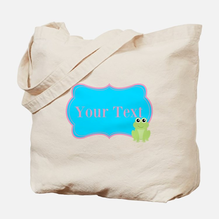 Personalizable Frog on Pink Teal Tote Bag