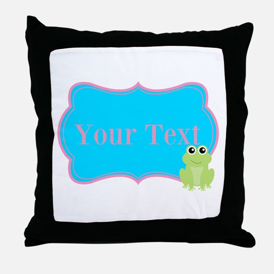 Personalizable Frog on Pink Teal Throw Pillow