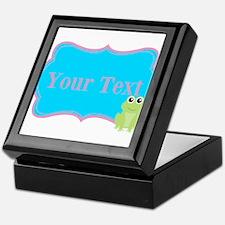 Personalizable Frog on Pink Teal Keepsake Box