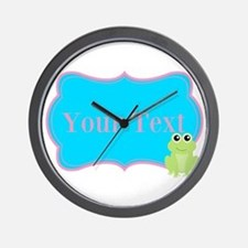 Personalizable Frog on Pink Teal Wall Clock