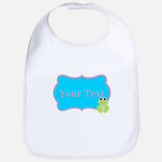 Personalizable Frog on Pink Teal Bib