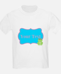 Personalizable Frog on Pink Teal T-Shirt