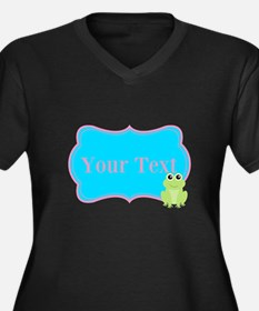 Personalizable Frog on Pink Teal Plus Size T-Shirt