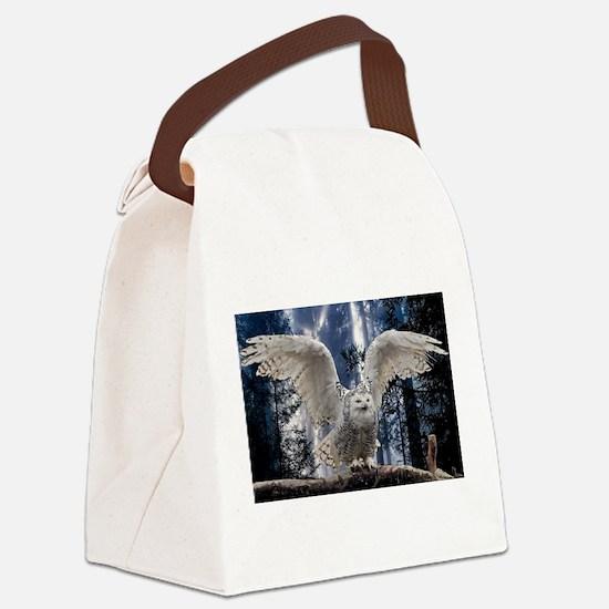 Funny Snowy owl Canvas Lunch Bag