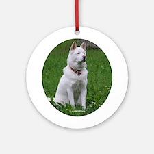 White Dog Ornament (Round)