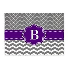 Gray Purple Quatrefoil Chevron Monogram 5'x7'Area