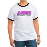 Ladies Lower Your Shields Ringer T
