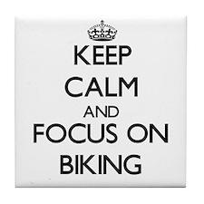 Cute Keep calm and pedal Tile Coaster