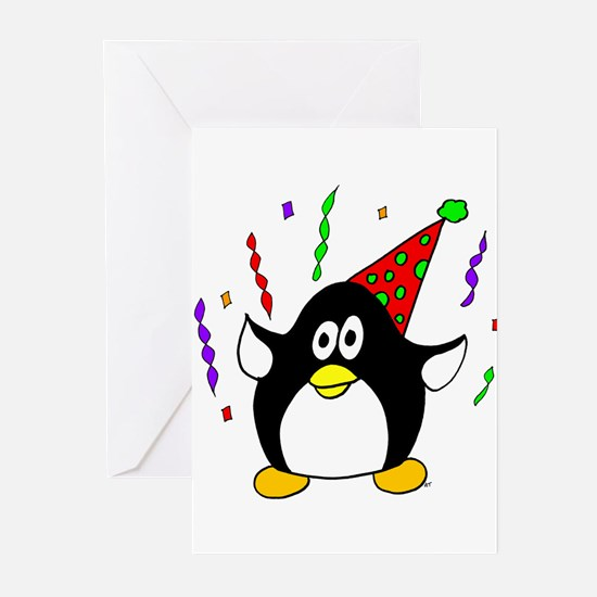 Birthday Party Penguin Greeting Cards (Package of