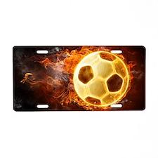 Fire Soccer Ball Aluminum License Plate