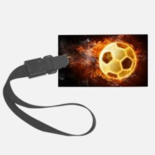 Fire Soccer Ball Luggage Tag