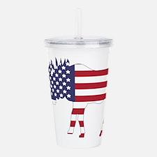 US Flag Moose Acrylic Double-wall Tumbler