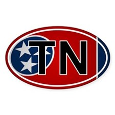 Tn - Tennessee Oval Car Sticker Flag Design