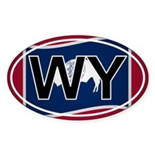 Wy - Wyoming Oval Car Sticker Flag Design