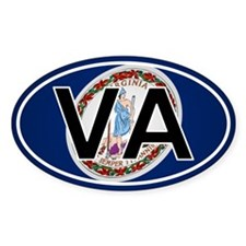 Va - Virginia Oval Car Sticker Flag Design