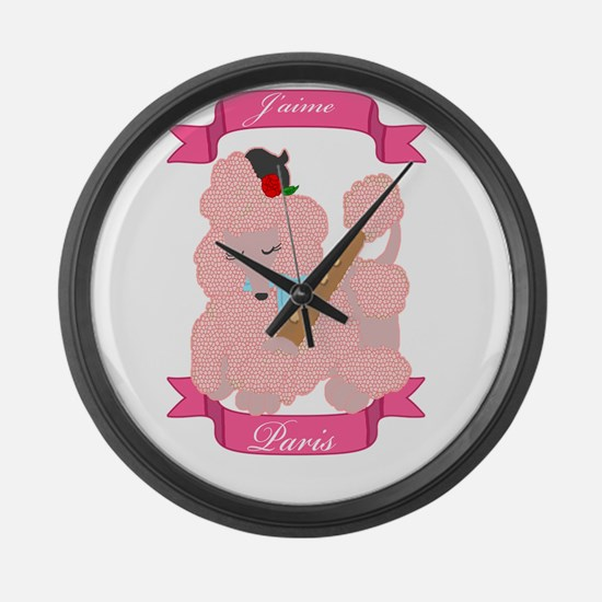 Cute Pink poodle Large Wall Clock